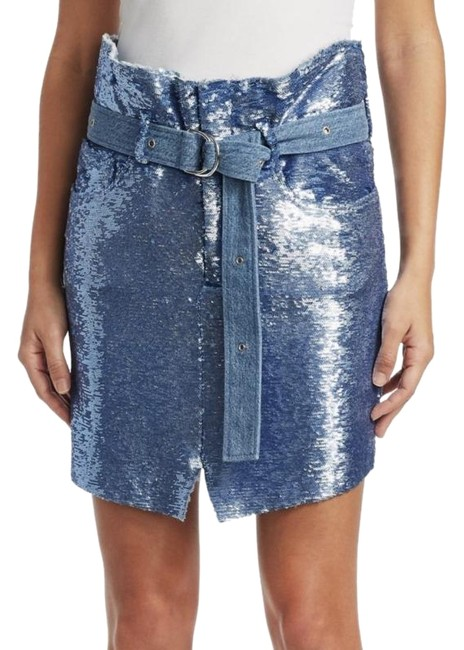 Preload https://img-static.tradesy.com/item/24122177/iro-blue-sequin-natou-belted-skirt-size-6-s-28-0-1-650-650.jpg