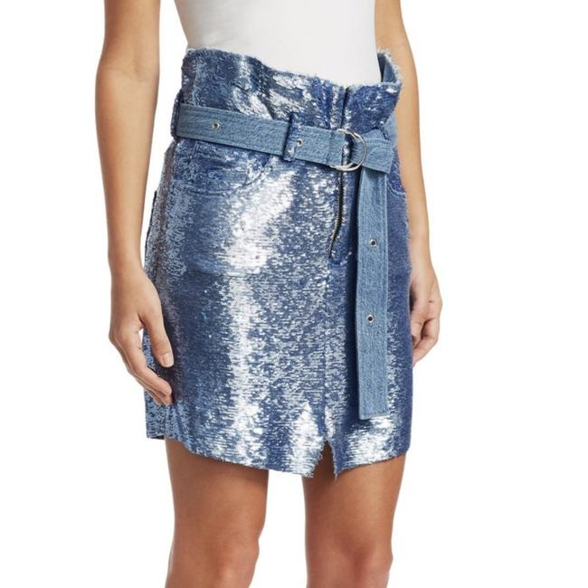 IRO Mini Skirt Blue Sequin Image 3
