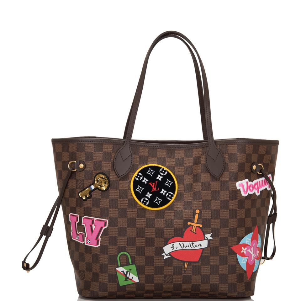 Louis Vuitton Neverfull Damier Ebene Patches Mm Brown Coated Canvas Tote -  Tradesy 40e9ab003d4a1