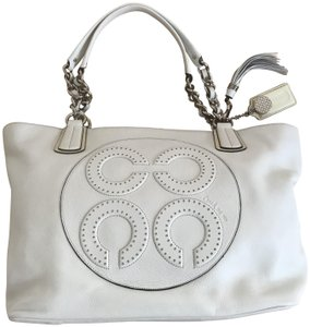 Coach Leather Logo Tote in Chalk (White)