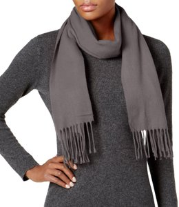 Cejon Gray Solid Fringed Woven Scarf