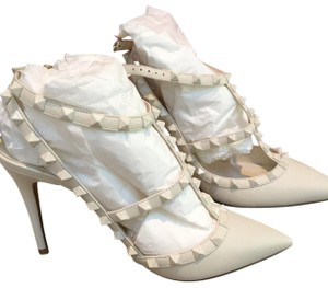 Valentino Studded Leather White Ivory Pumps