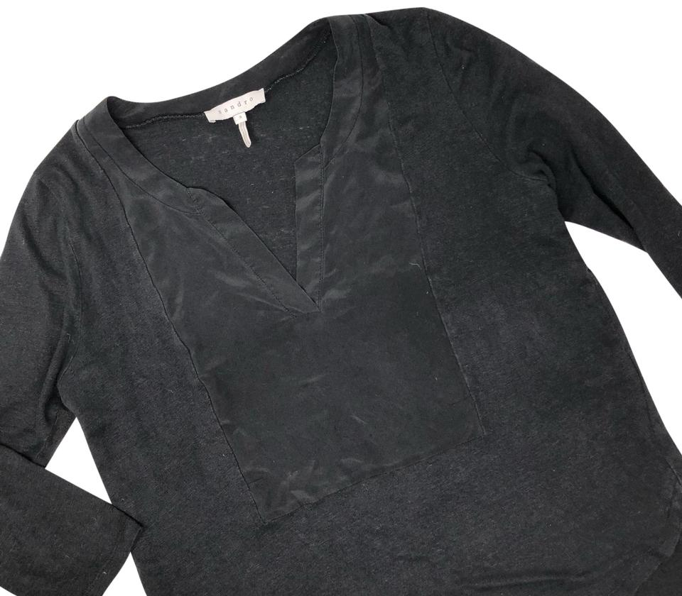 57d7f39d18c0c Sandro Black Cotton Silk V Neck Blouse Size 8 (M) - Tradesy