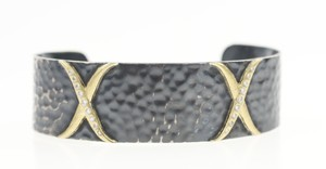 Laurie Kaiser Laurie Kaiser Silver & Gold Hammered Diamond Cuff