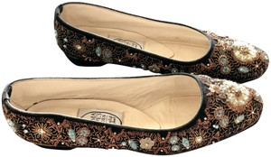 Emma Hope Embellished Balerina Suede High End Designer Black Flats