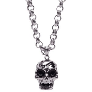 Alexander McQueen Aged Silver Skull Pendant Necklace w/Crystals 378619 1311