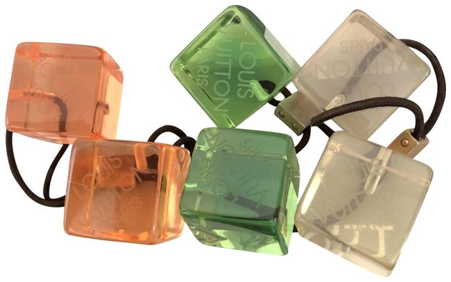 Item - Green/Clear/Pink Lucite Cube Ponytail Ties with Bag Hair Accessory