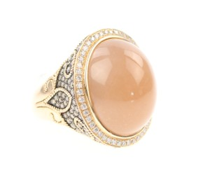 Other Champagne Oval Moonstone and Diamond Ring