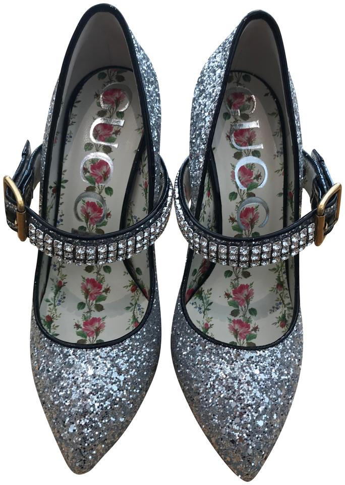 327f38ade89 Gucci Silver Sylvie Mary Jane Pumps Size EU 37 (Approx. US 7 ...