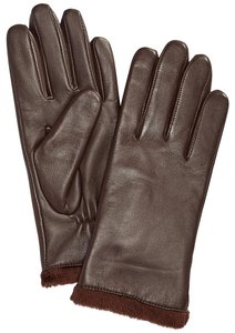 Charter Club Brown Leather Faux Fur Tech Gloves