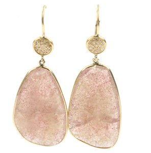 Getana & Co. Getana and Co. Raw Pink Sapphire Drop Earrings