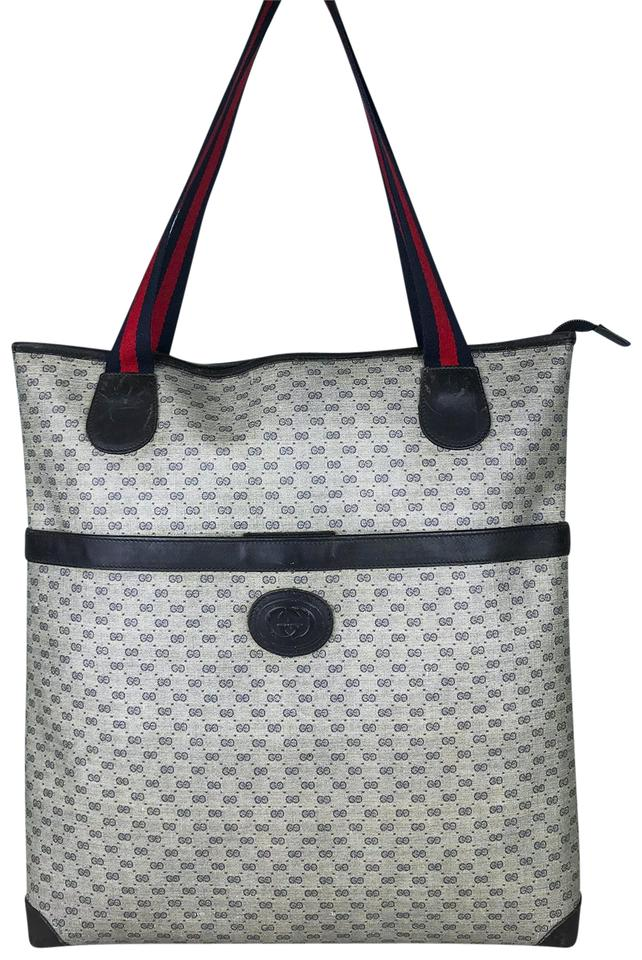 e73a4bc86ad4 Gucci Bag Navy Micro Gg Printed Women's Sale Blue Coated Canvas Tote ...