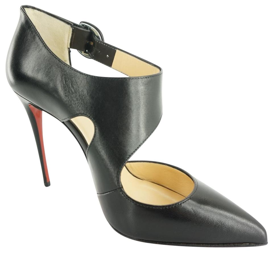 best sneakers 9633f 30c4f Christian Louboutin Black Leather Sharpeta 100mm Cut Out Pointy Pumps  Sandals Size EU 37 (Approx. US 7) Regular (M, B) 33% off retail