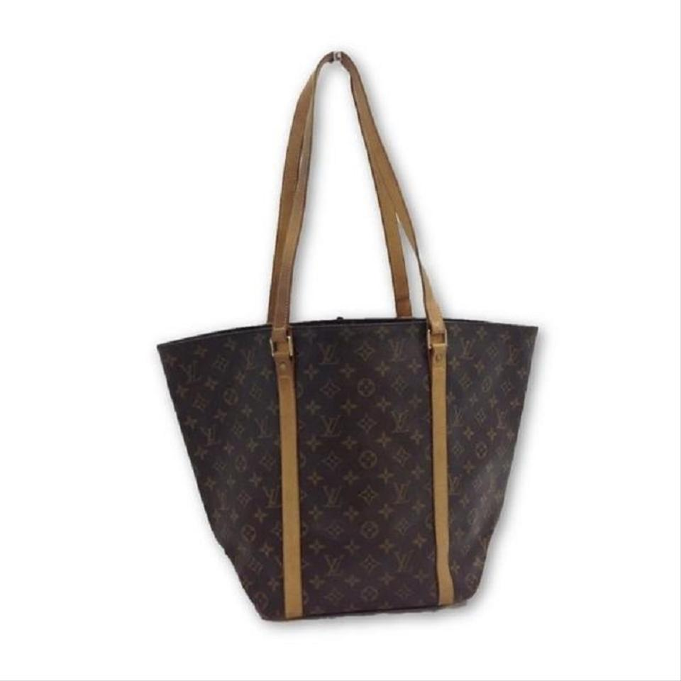df05f6853a0a Louis Vuitton Shopping Sac Monogram Mm Leather Canvas Brown Leather Tote