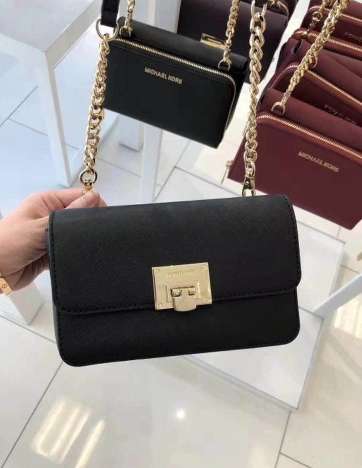 dfe2f01e3c65 Michael Kors Clutch Tina Wallet In 1 Black Saffiano Leather Cross ...