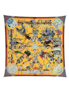 Hermès Collectors Les Danses Des Indiens Pleated Plisse Silk Scarf
