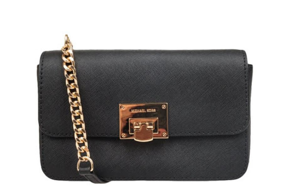 62305dfcff0d Michael Kors Tina Wallet In 1 Clutch Black Saffiano Leather Cross Body Bag