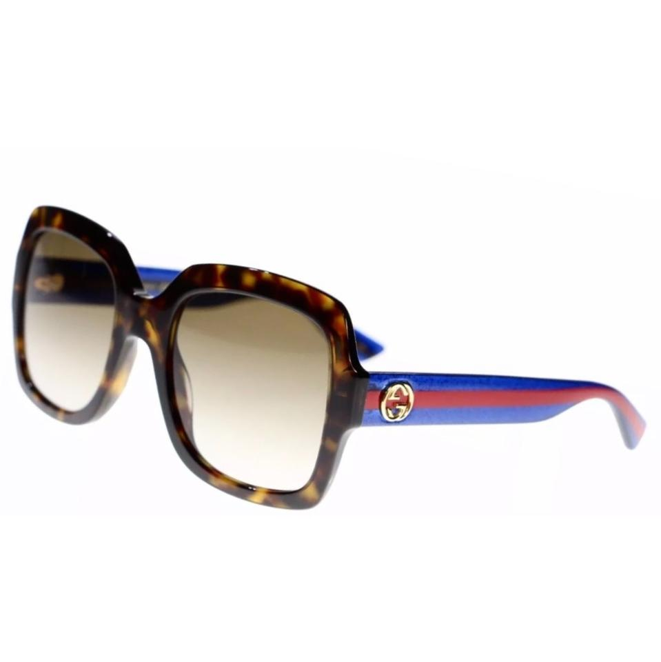 9236e0093ed Gucci Dark Havana Blue Red Square Oversized Gg0036s 004 Sunglasses ...