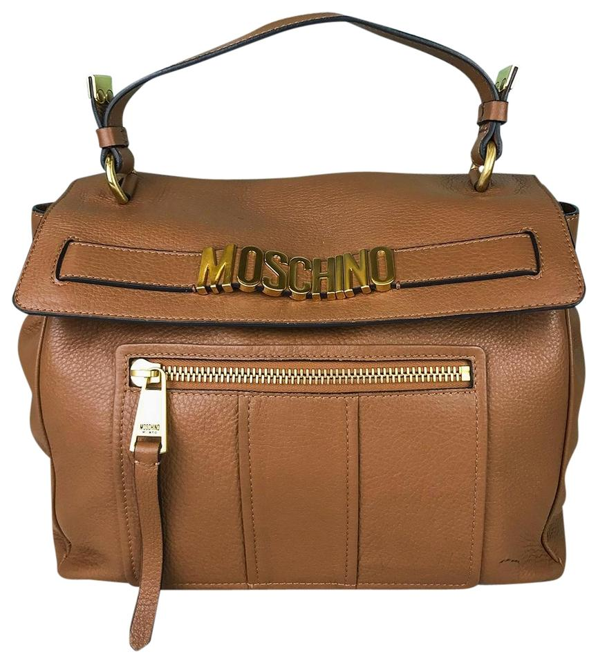 6437a1fbce59 Moschino Front Flap Top Handle Purse Womens Sale Brown Leather Shoulder Bag