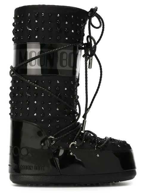 Item - Black Studded Fabric Leather Tall 35 36 37 Boots/Booties Size EU 38 (Approx. US 8) Regular (M, B)