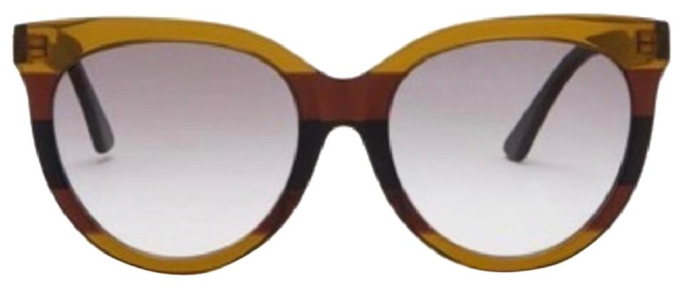 c2a39255818 Gucci Black Brown Marble Rounded Cat Eye Sunglasses - Tradesy
