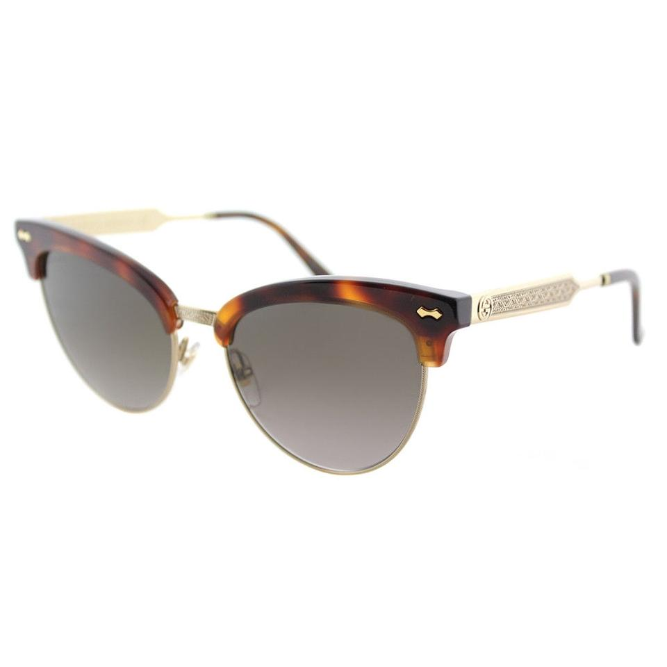 0cebcad6ff Gucci Gucci GG0055S 002 Havana Gold Plastic Cat-Eye Sunglasses Grey  Gradient ...