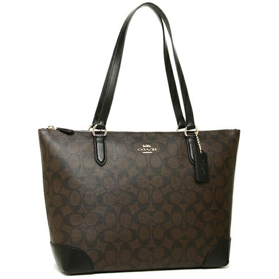 065619703f0 Coach Shoulder Bag New Classic Signature Monogram Logo Zip Purse Dark Brown  Coated Canvas and Leather Tote