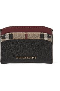 Burberry Textured-leather and checked coated-canvas cardholder