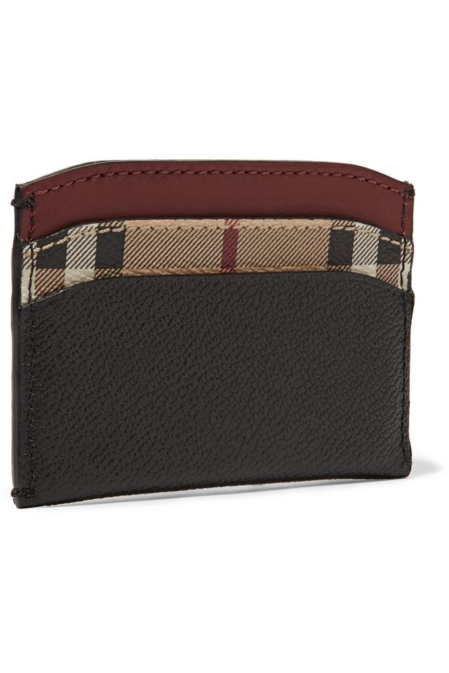 c45f0184285 Burberry Textured-leather and checked coated-canvas cardholder Image 3. 1234