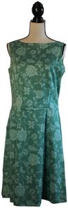 Casual Corner short dress Green Floral Stretchy Pleated Fitted on Tradesy