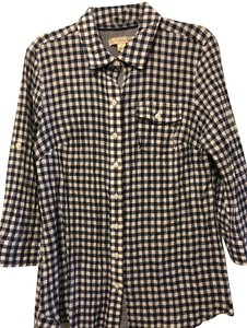Dress Barn Button Down Shirt Navy and white