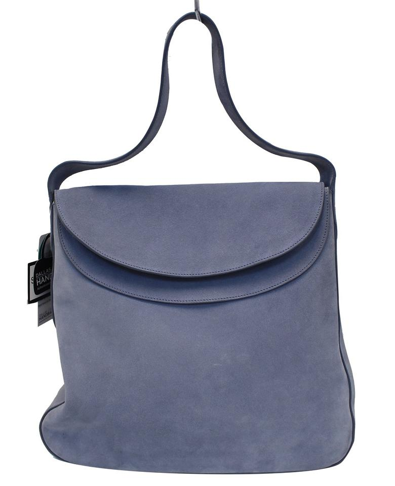7390356c535d Prada Vitello Daino Flap Suede Leather Hobo Sky Blue Shoulder Bag ...