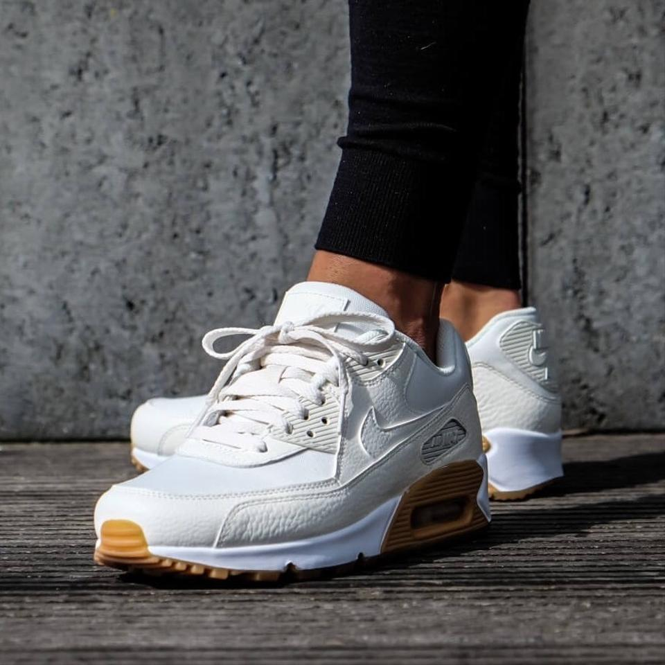 Nike White Women S Air Max 90 Leather Synthetic And Mesh Upper For