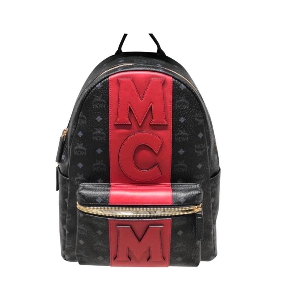 147f74506dfa13 MCM Stark Visetos Logo Stripe Black Backpack - Tradesy