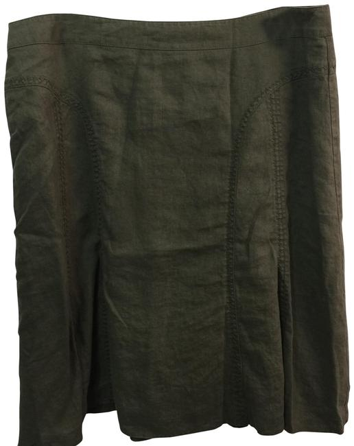 Steilmann Made In Germany Flax Linen Skirt Olive Green Image 0