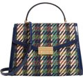 Tory Burch Winter Patent Leather Top Handle Tote in Multi blue tweed Image 0