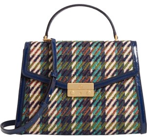 Tory Burch Winter Patent Leather Top Handle Tote in Multi blue tweed