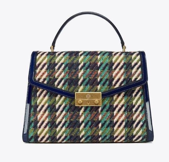 Tory Burch Winter Patent Leather Top Handle Tote in Multi blue tweed Image 1