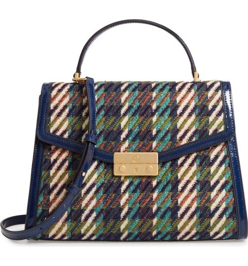Tory Burch Winter Patent Leather Top Handle Tote in Multi blue tweed Image 10