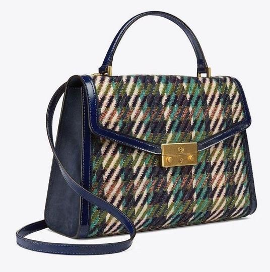 Tory Burch Winter Patent Leather Top Handle Tote in Multi blue tweed Image 2