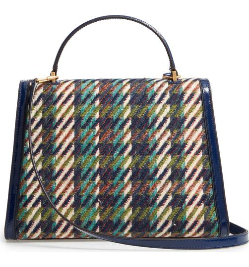 Tory Burch Winter Patent Leather Top Handle Tote in Multi blue tweed Image 3