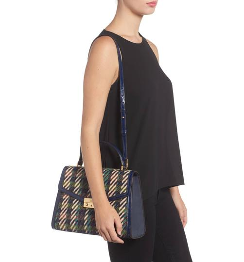 Tory Burch Winter Patent Leather Top Handle Tote in Multi blue tweed Image 5