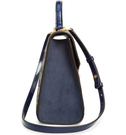 Tory Burch Winter Patent Leather Top Handle Tote in Multi blue tweed Image 6