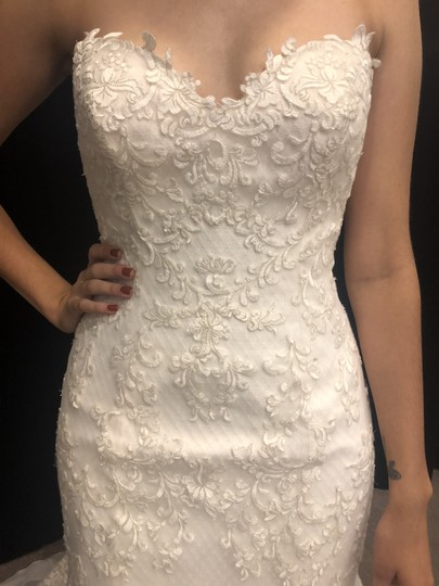 Maggie Sottero Ivory/Pewter Tulle/Lace/Satin Goldie-7mw425 Modern Wedding Dress Size 12 (L) Image 2