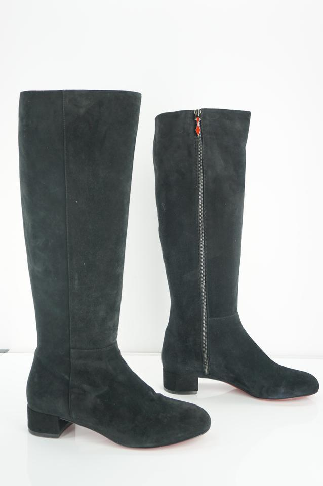 ab0859777d9e Christian Louboutin Black Suede Liliboot 30mm Knee High Classic Red Bottom  Riding Boots Booties Size EU 40.5 (Approx. US 10.5) Regular (M
