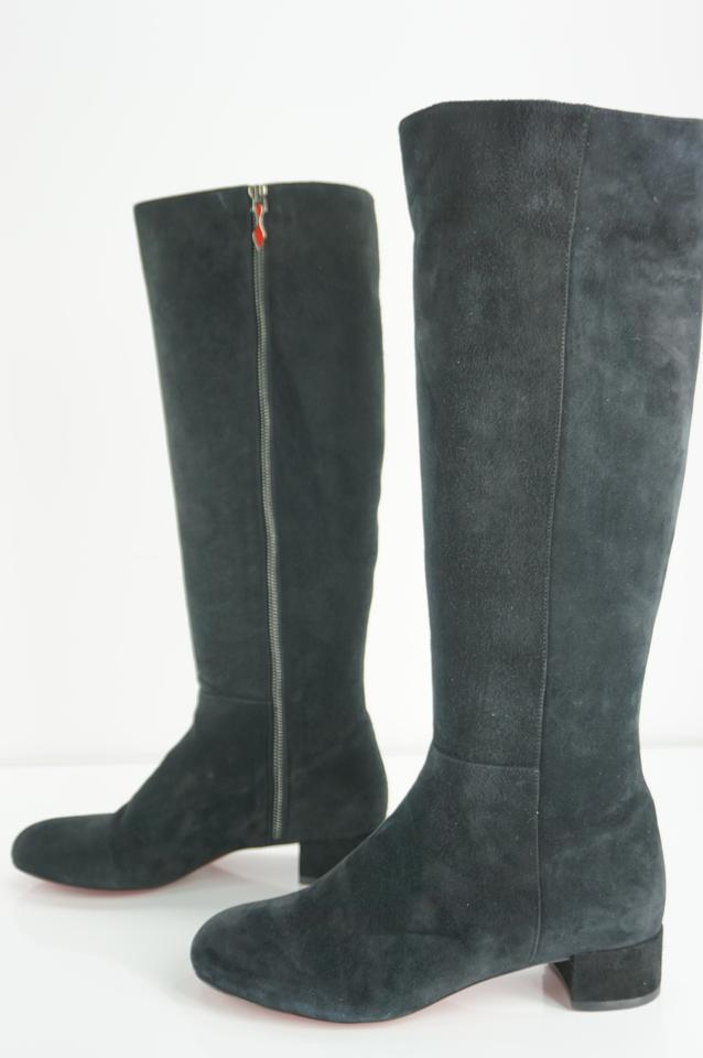0ba6908ad815 Christian Louboutin Black Suede Liliboot 30mm Knee High Classic Red ...