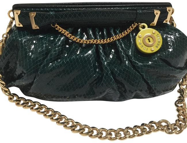 Item - Milliner Frame Deep Turquoise Gold Tone Hardware Lime Green Lining Leather Outer Satin Interior Clutch