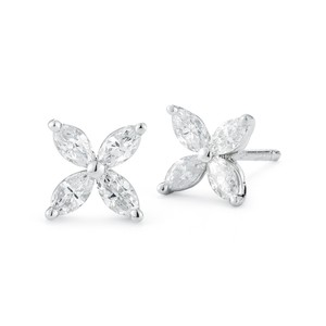 Gavriel's Jewelry High Quality Marquise Diamond Flower Stud Earrings 0.80 cttw
