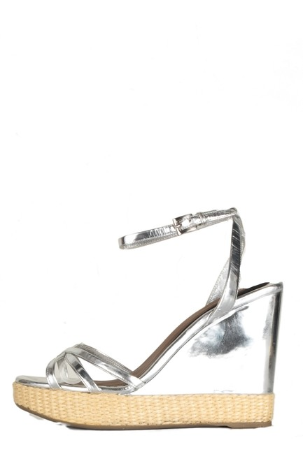 Item - Silver Leather Platform Wedges Size EU 39 (Approx. US 9) Regular (M, B)