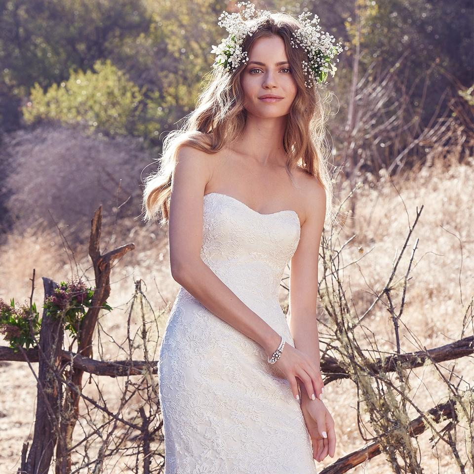 Maggie Sottero Lace Wedding Gown: Maggie Sottero Antique Ivory Lace Jaslynn Modern Wedding